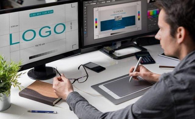 Designer creating a company logo
