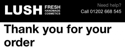 Lush thank you email