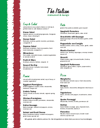 Italian menu example