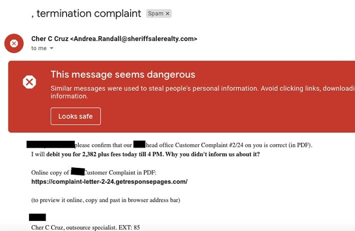An obvious phishing message