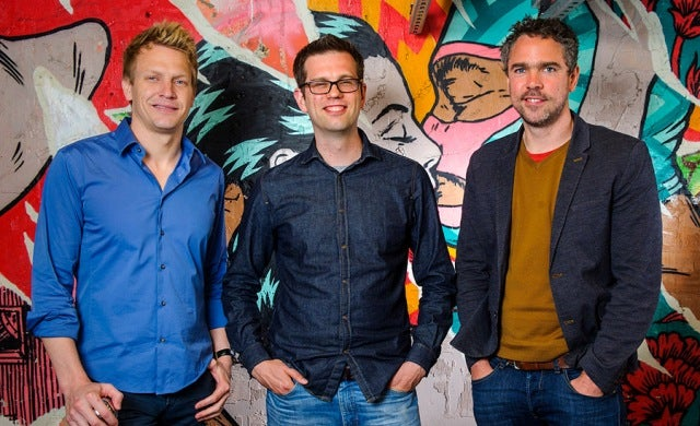 06.5.14 - London, UK Founders of Chilango Eric Partaker (left) and Dan Houghton (centre) in their Leather Lane restaurant with Luke Lang (right) marketing director of Crowdcube, who plan to launch a Mini Bond investment product. Chilango, with its Burrito Bond, is the first to use the service to raise money from its customers and the crowd to add to it's six Mexican fast food sites in London. Photo: Professional Images/@ProfImages