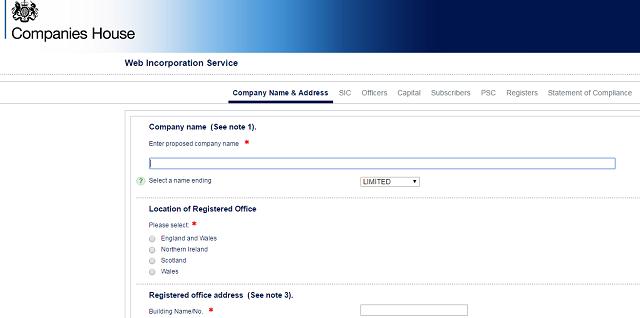 Company formation registered company address