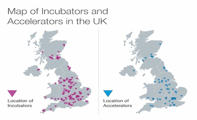 Map of incubators and accelerators