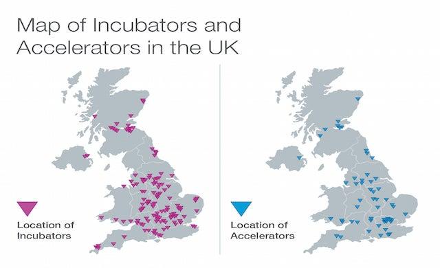 Map of incubators and accelerators