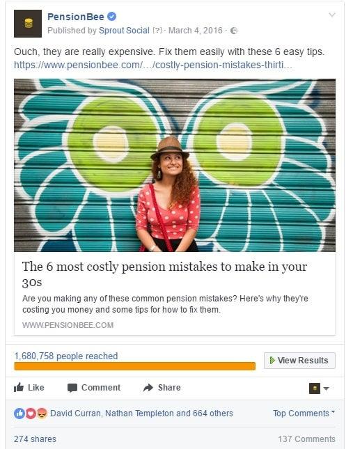 PensionBee Facebook post marketing