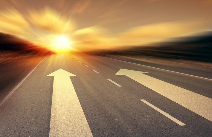 Accelerating along a road