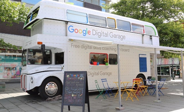 Google converts double decker bus into free digital training hub for start-ups