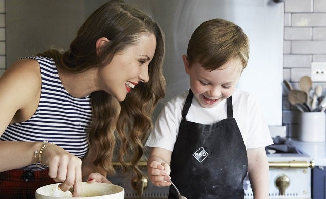 Adelle Smith baking with son Cai