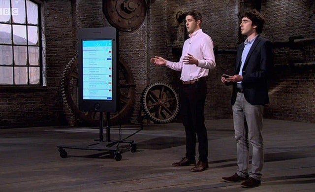 TickX co-founders Sam Coley and Steve Pearce pitching on Dragons' Den