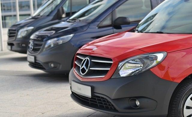 A fleet of Mercedes-Benz Vans