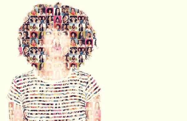 Composite image of a diverse group of people superimposed on a woman's face