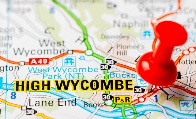 A map of High Wycombe