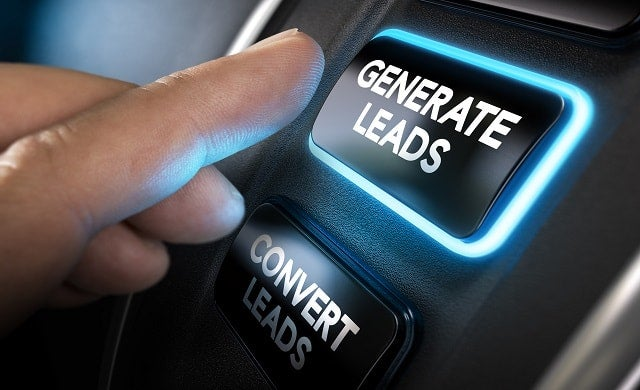 Hand pressing generate leads button