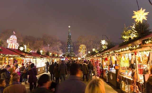 Christmas market Hyde Park Winter Wonderland UK