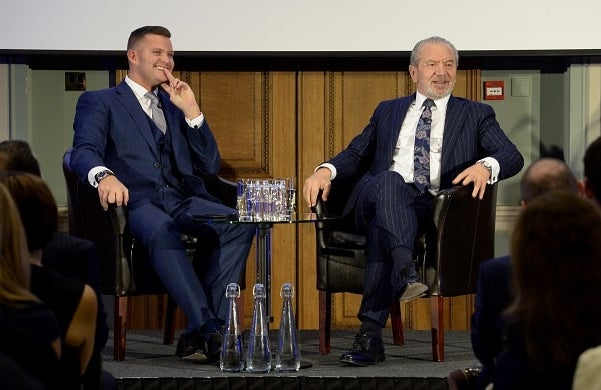 Ricky Martin and Lord Alan Sugar on stage