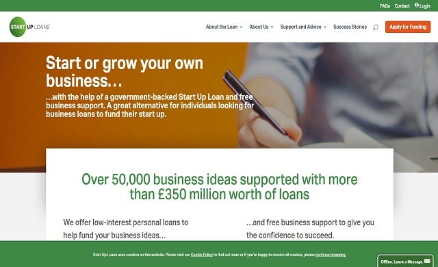 The homepage of the Start-up Loans website