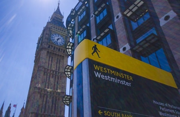 Westminster sign wth Big Ben