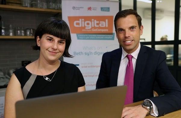 Ken Skates AM greets IoT expert and keynote speaker Alexandra Deschamps Sonino at Digital