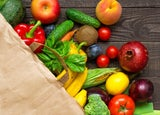 Food shopping in a grocery bag