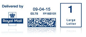 Mailmark postage stamp on envelope