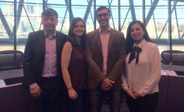 Motus Innovations founder Ross Ward with Paloma Torrado Vazquez and Stephanie Hodgson