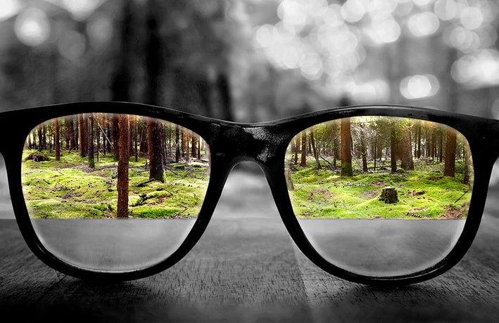 Glasses in a forest, clarity