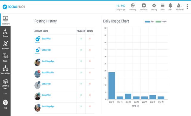 socialpilot dashboard