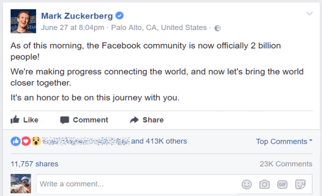 facebook zuckerberg 2 billion active users