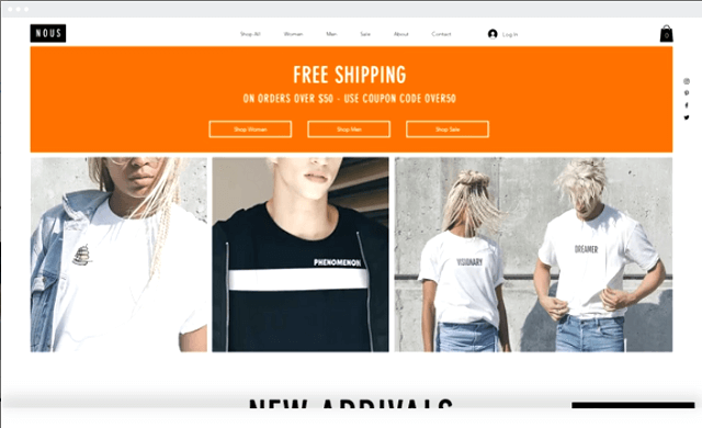 wix clothing line template