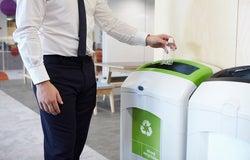 Recycling bin in an office