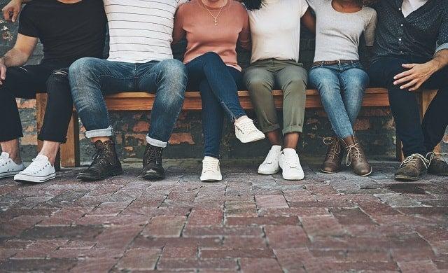 millennials on a bench