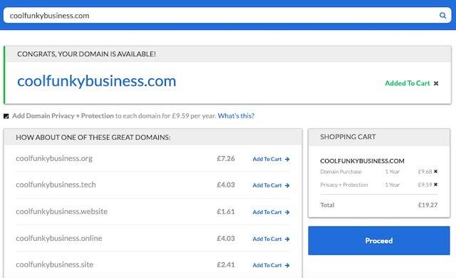 bluehost domain screenshot
