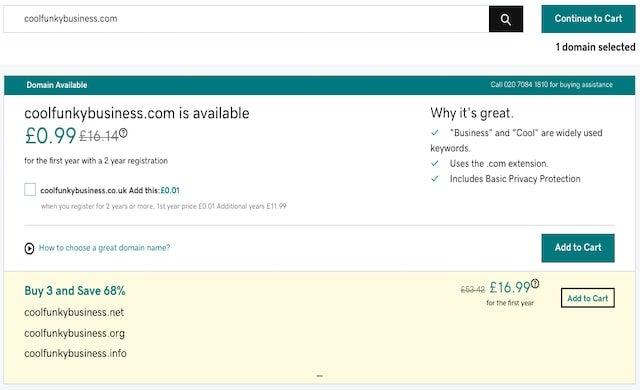 Godaddy domain screenshot