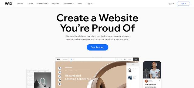 Website costs - Wix homepage)