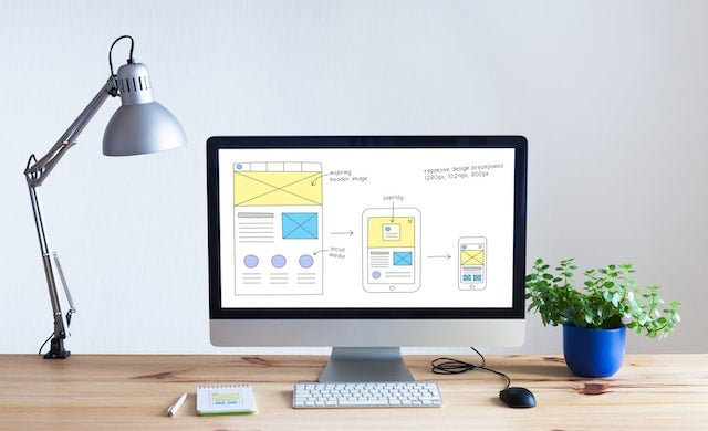 Web design on computer