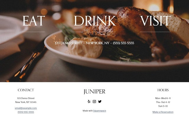 GoDaddy restaurant template