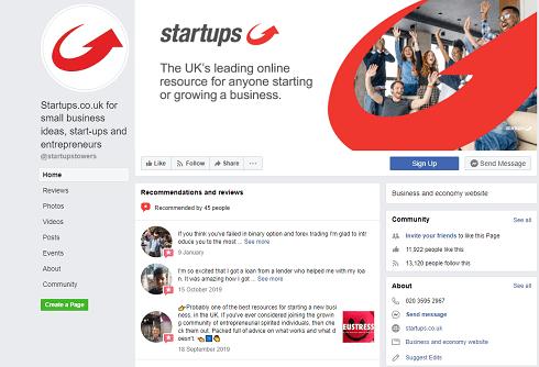 Startups Facebook