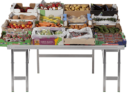 tilted market stall table