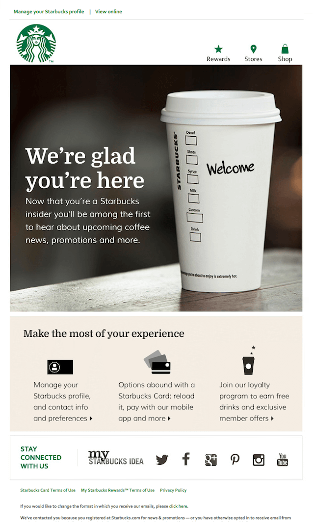 best crm email marketing examples starbucks