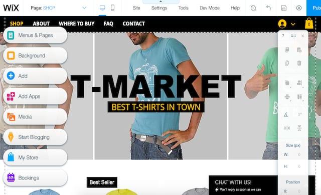 A wix tshirt ecommerce template