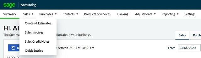 Sage Business Cloud Accounting nav bar