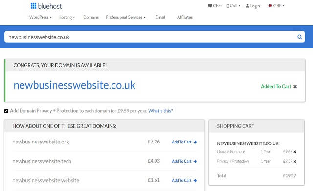 bluehost cost of a domain name