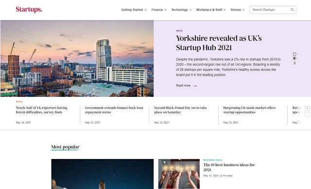 Startups.co.uk homepage 2021