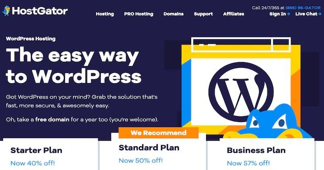 HostGator WordPress screenshot