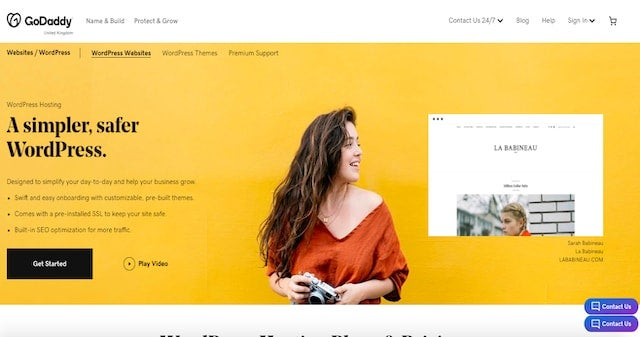 GoDaddy WordPress screenshot