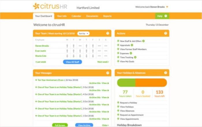 CitrusHR screenshot