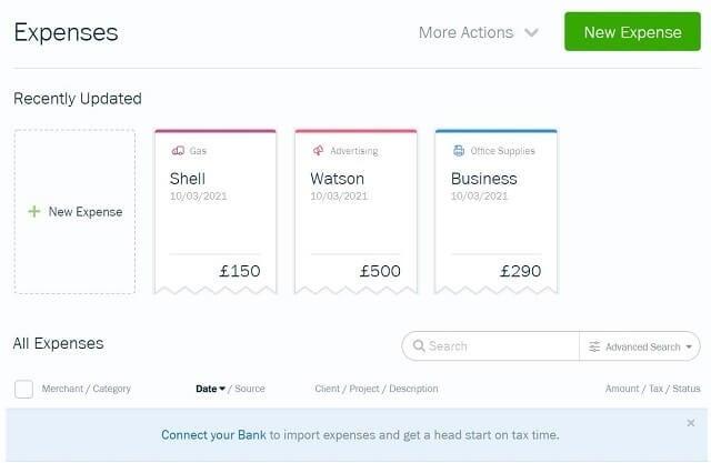 QuickBooks vs FreshBooks - FreshBooks expenses