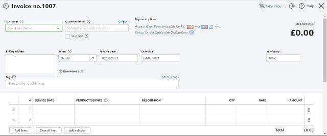 Quickbooks review create invoice