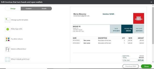Quickbooks review customise invoice