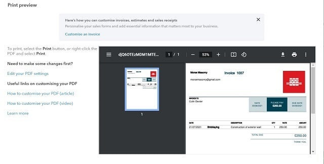 Quickbooks review preview invoice
